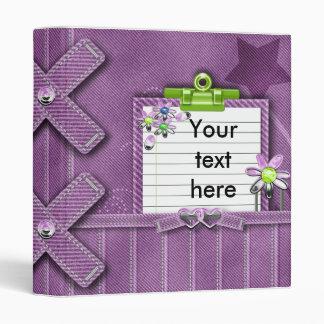 purple denim girly notes journal 3 ring binder