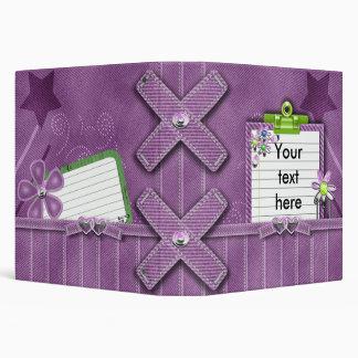purple denim girly notes journal vinyl binders