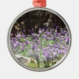Purple Desert Flowers Metal Ornament