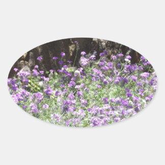 Purple Desert Flowers Oval Sticker