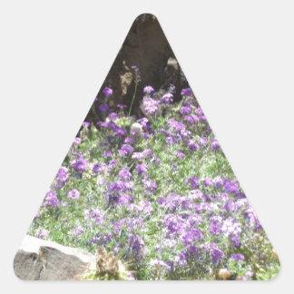 Purple Desert Flowers Triangle Sticker
