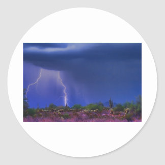 Purple Desert Storm Classic Round Sticker