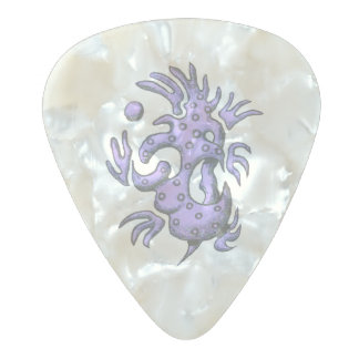 Purple design on guitar pick