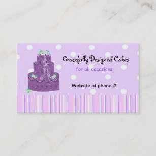 Purple wedding cake business cards templates zazzle purple designer wedding cake business card reheart Gallery