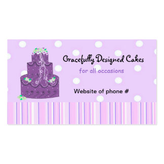 Purple Designer Wedding Cake Business Card