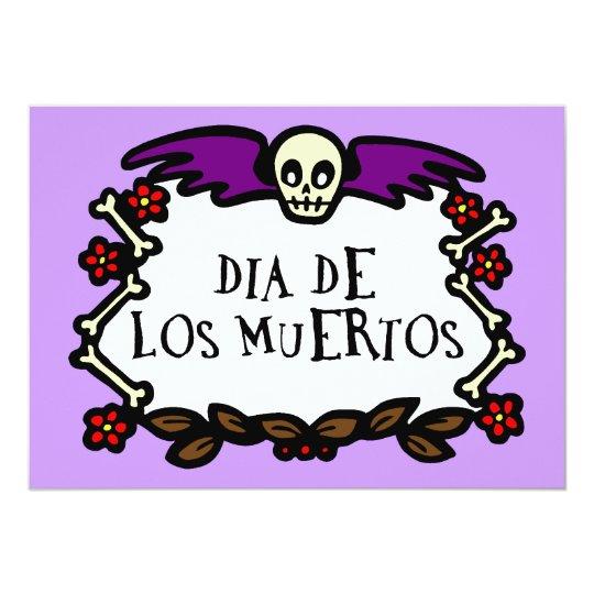 Purple Dia De Los Muertos Invite