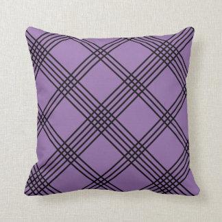 Purple Diagonal Plaid American MoJo Pillo Throw Pillows