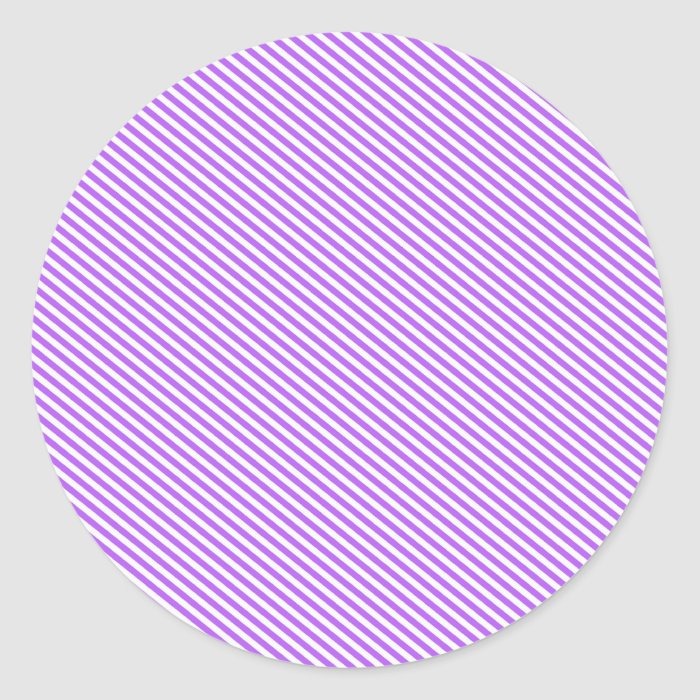 Purple Diagonal Stripes Classic Round Sticker