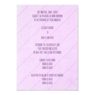 Purple Diagonal Stripes Wedding Invitation