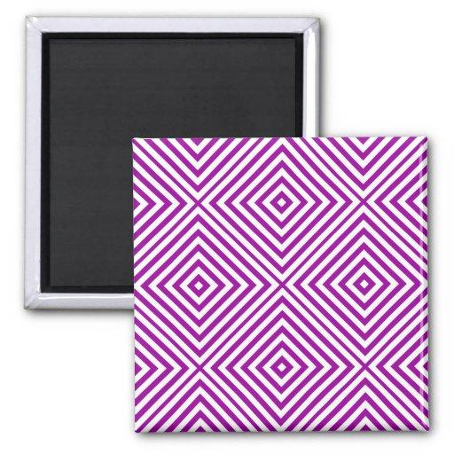 Purple Diamond Chevron 2 Inch Square Magnet