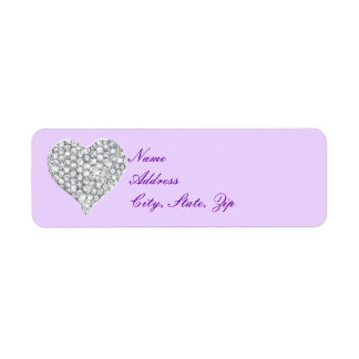 Purple Diamond Heart Address Labels