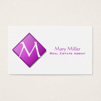 Purple Diamond Monogram Business Card