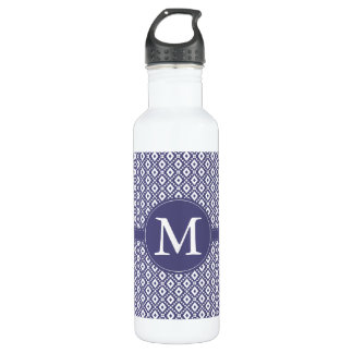 Purple Diamond Pattern Monogram Stainless Steel Water Bottle
