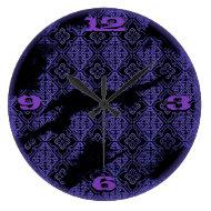 purple diamond pattern victorian grunge wall clock