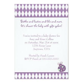 Purple Diamonds Baby Shower Invitation