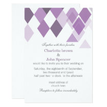 purple diamonds Geometrical wedding invitations