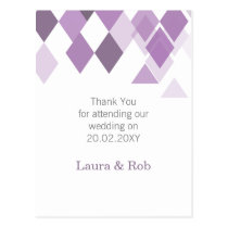 purple diamonds Geometrical wedding Thank You Postcard
