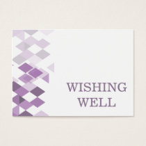 purple diamonds Geometrical wedding wishing well Business Card