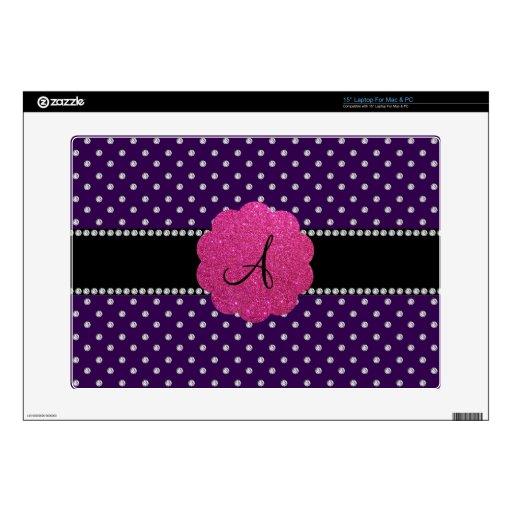 "Purple diamonds monogram 15"" laptop decals"