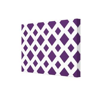 Purple Diamonds on White Canvas Print