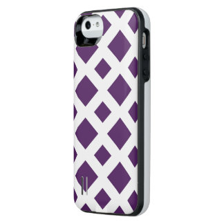 Purple Diamonds on White iPhone SE/5/5s Battery Case