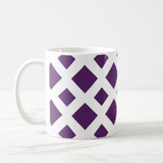 Purple Diamonds on White Coffee Mug