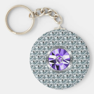 Purple Diamonds Pattern And White Gold Basic Round Button Keychain