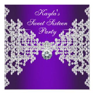 Purple Diamonds Purple Sweet Sixteen Birthday Card