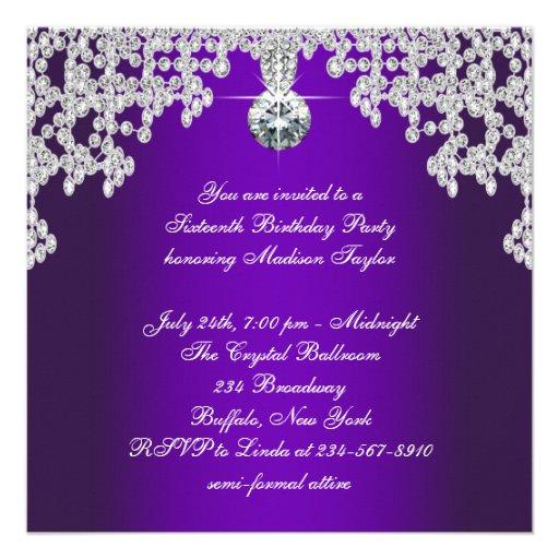 Purple Diamonds Purple Sweet Sixteen Birthday Personalized Invitation (back side)