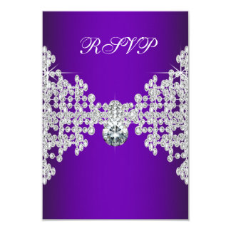Purple Diamonds Purple Sweet Sixteen Birthday RSVP Card
