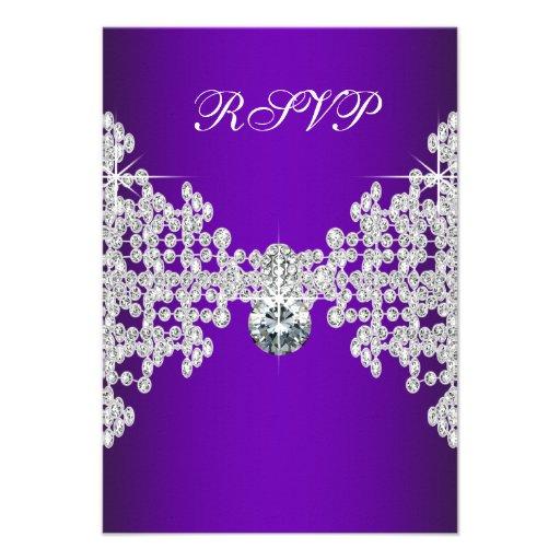 Purple Diamonds Purple Sweet Sixteen Birthday RSVP Custom Announcements