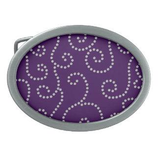 Purple diamonds swirls oval belt buckles