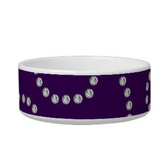 Purple diamonds swirls cat bowl