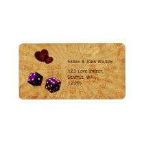 purple dice Vintage Vegas adress labels