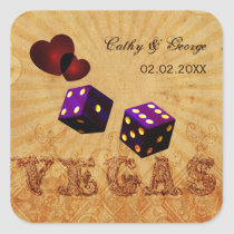 purple dice Vintage Vegas favor stickers