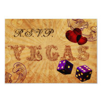 purple dice Vintage Vegas rsvp 3.5 x 5 Card
