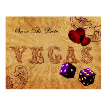purple dice Vintage Vegas save the date Postcard