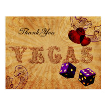 purple dice Vintage Vegas Thank You Postcard