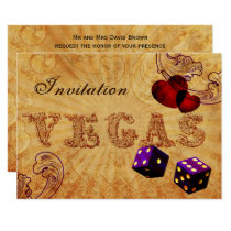 purple dice Vintage Vegas wedding invites