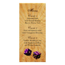 purple dice Vintage Vegas wedding menu