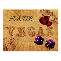 purple dice Vintage Vegas wedding rsvp Postcard