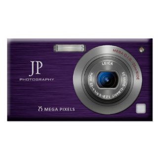 Purple Digital Camera Professional Photographer Double-Sided Standard Business Cards (Pack Of 100)