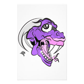 Purple Dino Head Stationery
