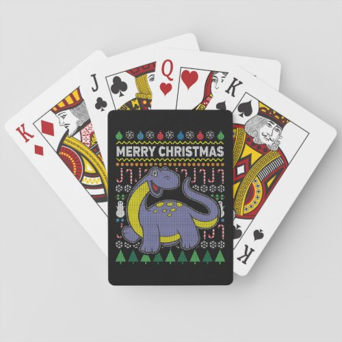 Purple Dino Wildlife Merry Christmas Ugly Sweater Playing Cards