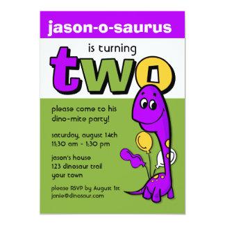 Purple Dinosaur 2nd Birthday Card