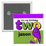 Purple Dinosaur 2nd Birthday Custom Buttons