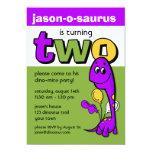 "Purple Dinosaur 2nd Birthday 5"" X 7"" Invitation Card"