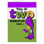 Purple Dinosaur 2nd Birthday Thank You Greeting Cards