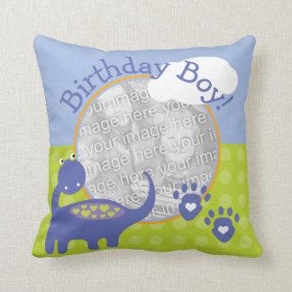 Purple Dinosaur Birthday Boy with Dots Photo Throw Pillows