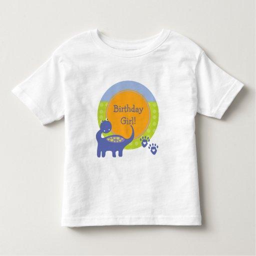 Purple Dinosaur Birthday Girl with Dots Toddler T-shirt